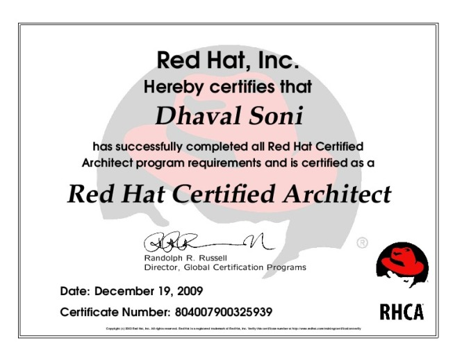 RHCA Red Hat Certified Architect